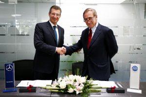 Neposredno po potpsivanju ugovora: levo Peter Alexander Trettin, predsednik i generalni direktor Daimlera za Centralnu i Istočnu Evropu, Afriku i Aziju i Walter Frey, predsednik i predsedavajući upravnog odbora Emil Frey Grupe